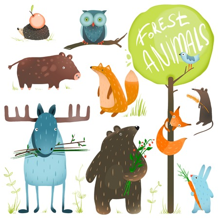 origen animal: Cartoon Forest Animals Set. Colores brillantes animales infantiles. Vectores