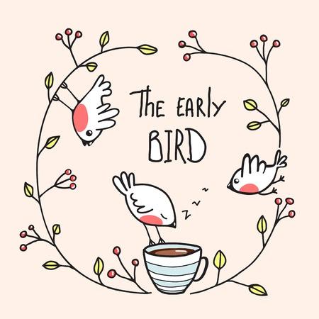 El Early Bird Decir con los pájaros y café. Pajaritos que beben el café de la mañana. Vector EPS8