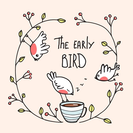 The Early Bird Saying with Birds and Coffee. Little birdies drinking coffee in the morning. Vector EPS8 Vectores