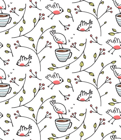 Garden with Birds Seamless Pattern. Tileable background drinking tea drawing. Vector EPS8