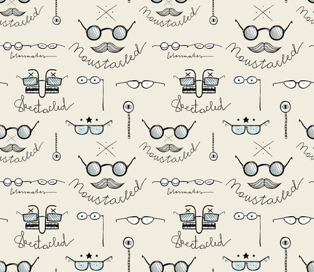 spectacled: Glasses Labeles Sketchy Drawing Seamless Pattern. Vintage background with moustaches and spectacles. Vector EPS8.