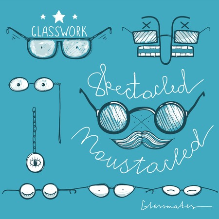 eyewear fashion: Glasses Hand Drawn Labeles Collection. Vintage spectacles drawings and lettering. Vector EPS8 Illustration