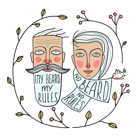 slogan: Hombre de la barba y sin barba Retratos de la mujer. Rostros de dos personas de dibujo. Ilustración vectorial EPS8.