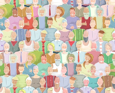 Colorful Many People Throng Tileable Background Hand Drawn. Multicolored crowded wallpaper drawing. Vector illustration EPS8. Vector