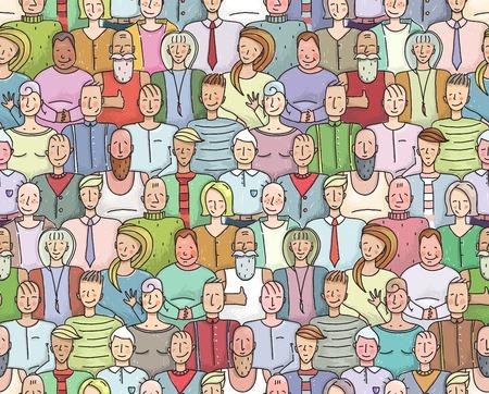 Sonreír Multitud Retrato Colectivo Modelo inconsútil. Hombres y mujeres coloridas aglomeran retrato. Ilustración vectorial EPS8. Foto de archivo - 32764964