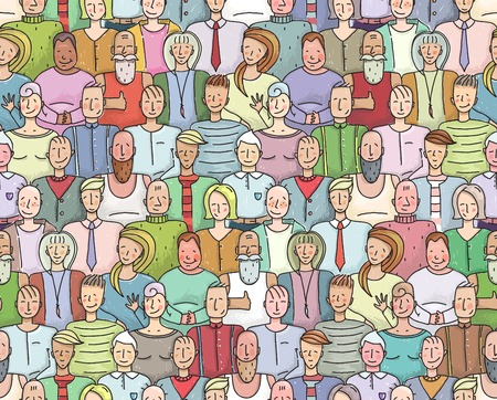 Smiling People Crowd Collective Portrait Seamless Pattern. Colorful men and women throng portrait. Vector illustration EPS8.
