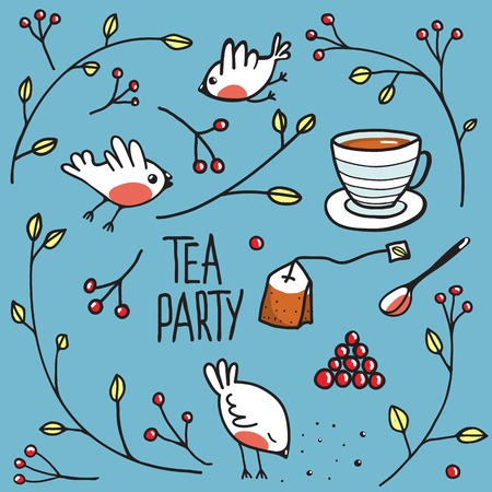Garden Tea Party with Birds Twigs and Berries. Simple naive hand drawn outlined illustration. Vector EPS8 일러스트