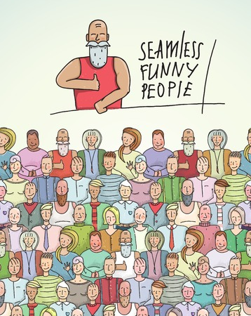 Thumbs Up Man and People Crowd Seamless Colorful Border. Vector
