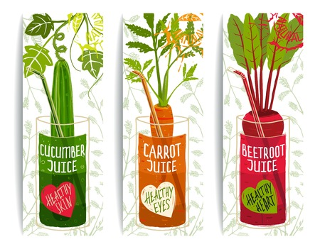 Healthy Vegetables Juices Design Collection on White with Signs and Stamps. Vector