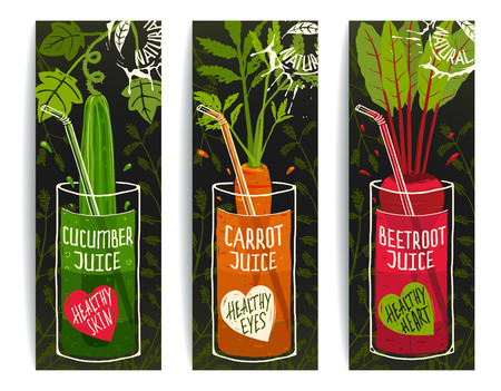 beet root: Drinking Diet Vegetable Juice Cartoon Design on Dark with Greens.