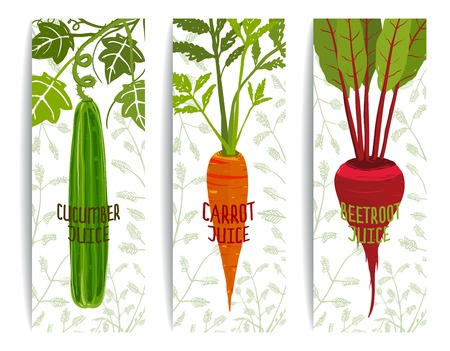beetroot: Healthy Juices Design Collection on White with Vegetables. Brightly colored vegetables for healthy diet. Layered vector EPS8