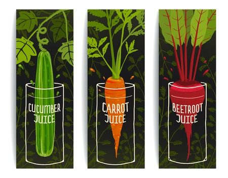 fresh juice: Dieting Carrot Cucumber Beet Juices Hand Drawn Design on Dark Background.  Illustration