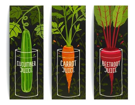 Dieting Carrot Cucumber Beet Juices Hand Drawn Design on Dark Background.  Illustration