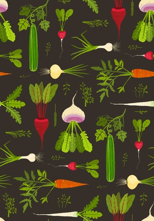 Root Vegetables with Leafy Tops Dark Seamless Pattern Background. Vector