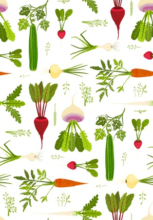 Leafy Vegetables and Greens Seamless Pattern Background.  Vector