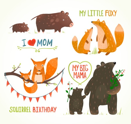 animal fauna: Cartoon Forest Animals Parent with Baby Birthday Party Cards Illustration