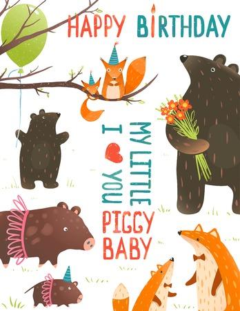 jabali: Tarjeta de cumpleaños con los animales del bosque a madres y bebés