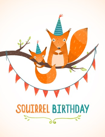 birthday party: Little Squirrel and Mother Birthday Greeting Card Cartoon Illustration