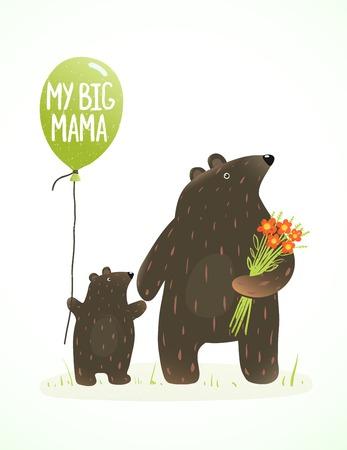 ourson: M�re et son b�b� ours Childish Cartoon animaux. Main dessin de style �labor� de maman animal et son fils. Vector illustration.