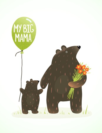 family fun: Mother Bear and her Baby Childish Animal Cartoon. Hand drawn style drawing of animal mom and her son. Vector illustration.