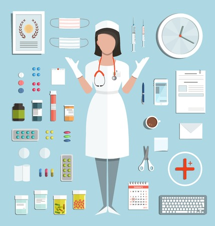 pediatric nurse: Doctor Standing Ready to Work with Pills Medications Bottles and Tools Medicine flat style illustration with a nurse. Vector EPS10.