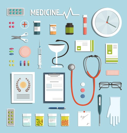 medicament: Medicine Objects and Medicament Collection Medicine icons flat style illustration collection. Vector EPS10. Illustration