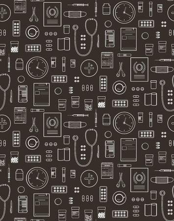 Outlined Medical Symbols and Icons Seamless Pattern Background on Black Medicine monochrome tools and medicaments black and white. Vector EPS10. Vector