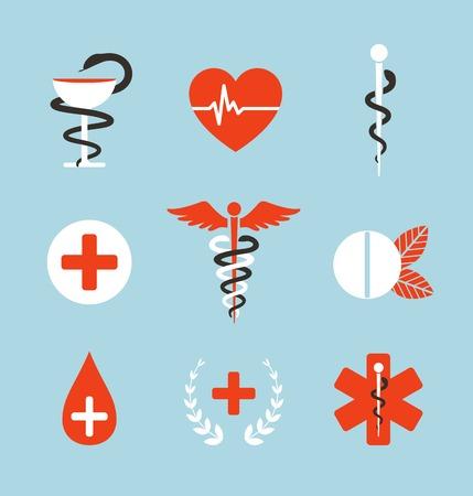 símbolo de la medicina: S�mbolos m�dicos emblemas y signos Colecci�n Conjunto de iconos de la medicina gr�ficas. Caduceo, emergencia, taz�n con la serpiente. Ilustraci�n del vector.