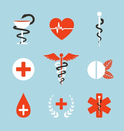 Medical Symbols Emblems and Signs Collection Set of graphic medicine icons. Caduceus, emergency, bowl with snake. Vector illustration.