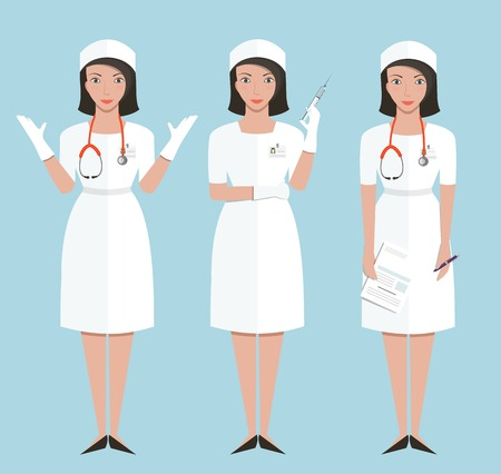 pediatric nurse: Nurse or Doctor in Poses Showing Making Injection and Diagnose Medicine flat style illustration of woman doctor. Vector EPS10.