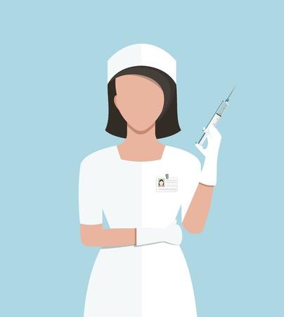 간호사 의료 주입을 만드는 의학 주사기와 의사의 평면 스타일 일러스트 레이 션. 벡터 EPS10입니다.