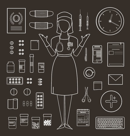 medicament: Outlined One Color Medical Symbols and Icons Collection on Black Medicine monochrome tools and medicament set isolated. Vector EPS10. Illustration