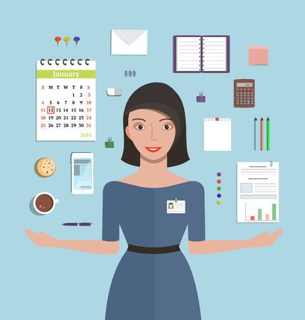 secretary: Office Manager Woman Working and Supplies Objects Composition Pretty girl showing office supplies flat style vector illustration. Illustration