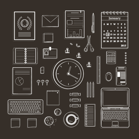 business supplies: Office Supplies Collection Flat Lines Monochrome Illustration on Black Business black and white objects for organisation set. Vector design.