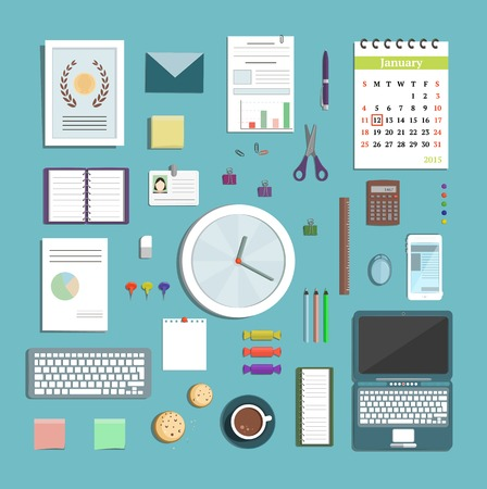 office objects: Office Supplies Collection Flat Style Illustration. Business process objects for planning and organisation. Vector design.