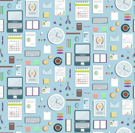 Colored Seamless Pattern Office Supplies Flat Style Business Wallpaper Business objects tileable background on blue. Vector design. Ilustração