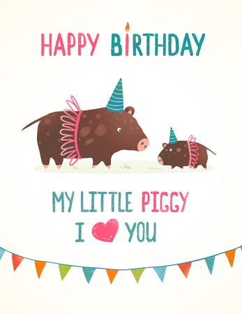 Little Piggy And Mother Birthday Greeting Card Cartoon Illustration