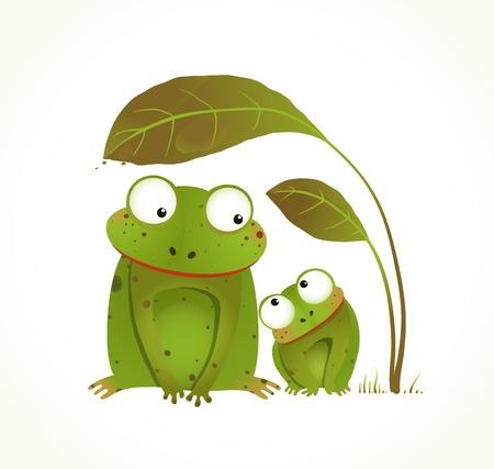 두 개구리 엄마와 아기 유치 동물 만화. 동물의 손으로 그린 수채화 스타일 그리기. 벡터 일러스트 레이 션 EPS10.