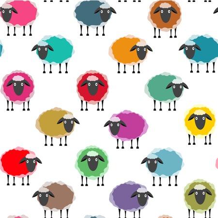 Colorful Seamless Sheep Pattern. Seamless Sheep Pattern. Vector EPS10.
