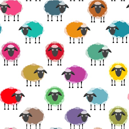 clew: Colorful Seamless Sheep Pattern. Seamless Sheep Pattern. Vector EPS10.