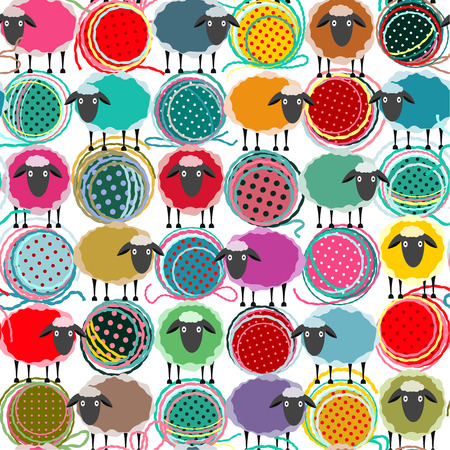 Colorful Seamless Sheep and Yarn Balls Pattern. Seamless Sheep Pattern. Vector EPS10. No effects used.
