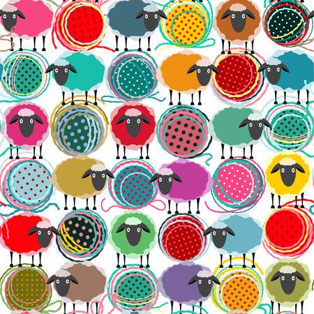 and sheep: Las ovejas de colores sin fisuras y las bolas del hilado del patrón. Modelo inconsútil de las ovejas. Vector EPS10. No hay efectos utilizados. Vectores
