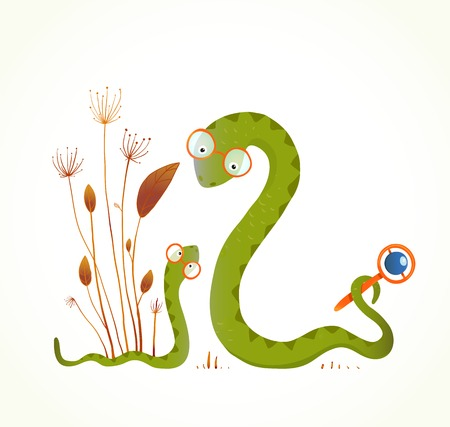 Mother Snail with Rattle and Baby Childish Animal Illustration. Hand drawn watercolor style illustration of rattlesnakes. Vector illustration EPS10. Illustration