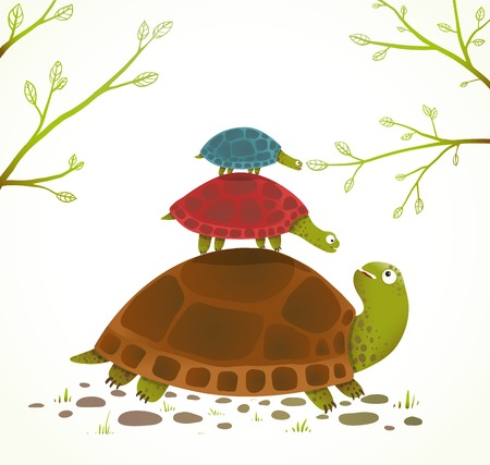 Turtle Mother and Babies Childish Animal Illustration.  Watercolor style drawing of mom and her children. Vector illustration EPS10. Иллюстрация