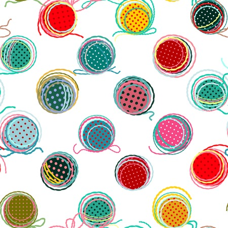 Kleurrijke naadloze Garen Ballen Patroon. Naadloze Ballen van het Garen Patroon. Vector EPS10. Geen effecten gebruikt. Stock Illustratie