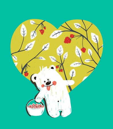 baby bear: Cartoon Baby Bear with Raspberries Heart Background. Hand drawn simple childish bear and  nature. Vector illustration.