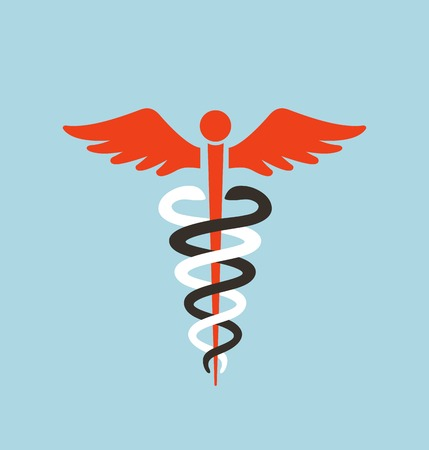 doctor symbol: Medical Caduceus Symbol. Caduceus white red and black graphic emblem. Vector illustration. Illustration