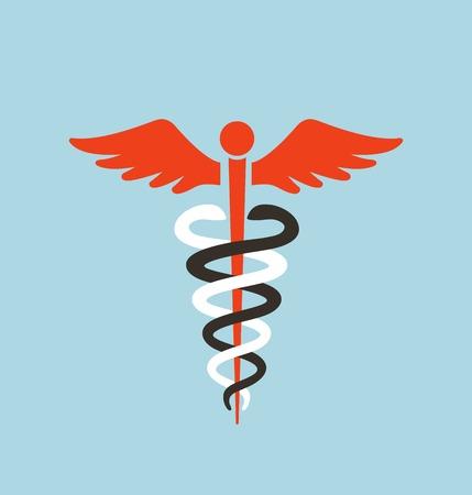 Medische Caduceus van het Symbool. Caduceus wit rood en zwart grafische embleem. Vector illustratie. Stock Illustratie