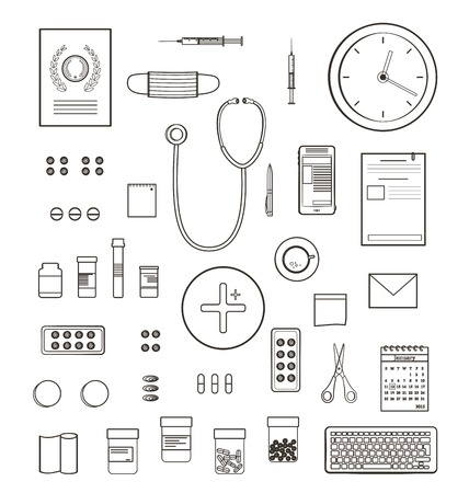 medicament: Outlined One Color Medical Symbols and Icons Collection. Medicine monochrome tools and medicament set isolated. Vector EPS10.