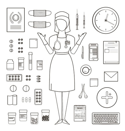 medicament: Outlined One Color Medical Symbols and Icons Collection with Nurse Standing. Medicine monochrome tools and medicament set isolated. Vector EPS10. Illustration
